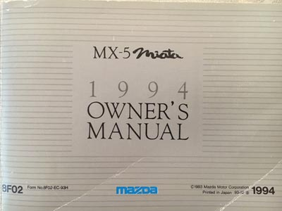 Mazda MX-5 Miata 94er Manual