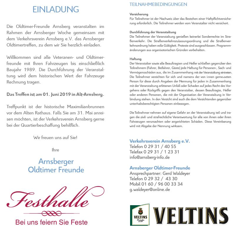 Einladung der Oldtimer-Freunde Arnsberg zum 36. Oldtimertreffen mit Sauerlandausfahrt